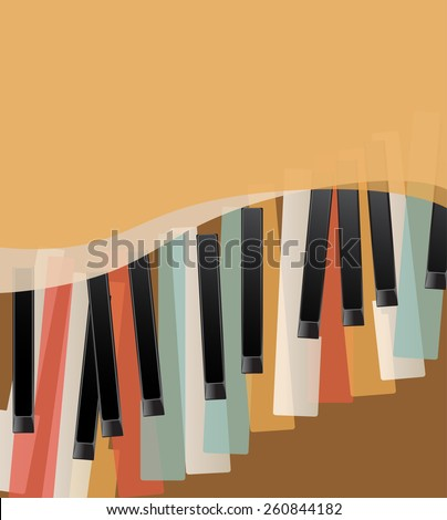 piano keys retro orange background with space for text - stock vector