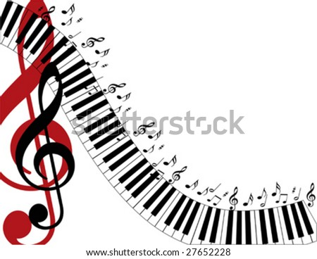 Piano keys swirling down the page with a large red treble clef. - stock vector