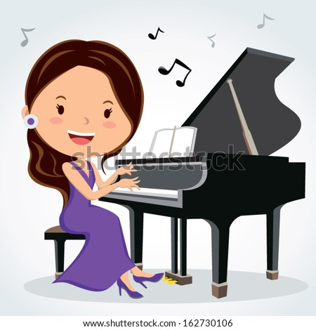 Piano performance. Vector illustration of a pretty woman playing piano. More images in this series. - stock vector