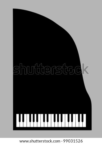 piano silhouette on gray background, vector illustration - stock vector