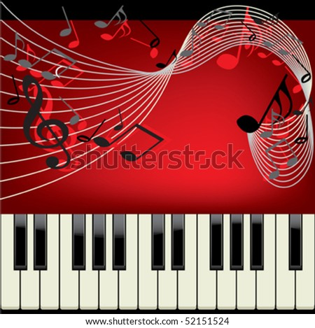 Piano vector background with musical notes - stock vector