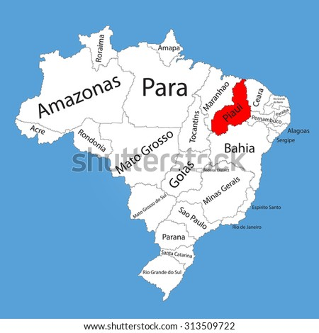 Piaui brazil vector map isolated on stock vector 2018 313509722 piaui brazil vector map isolated on brazil map editable vector map silhouette of gumiabroncs Choice Image