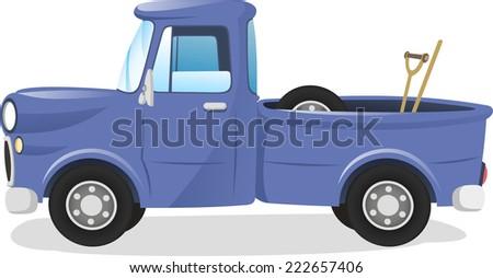Pick up truck vector cartoon illustration - stock vector