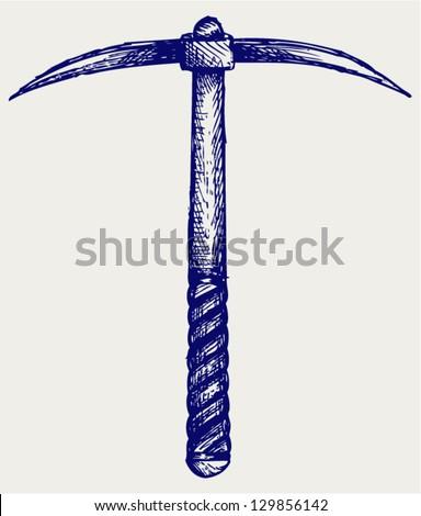 Pickaxe. Doodle style - stock vector