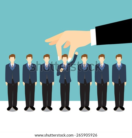 Picking the right candidate. - stock vector