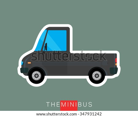 Pickup bus, freight bus, delivery bus. Colored mini van. Commercial vehicle minibus. Vector illustration - stock vector