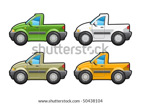 Pickup. part of my collections  of Car body style. Simple gradients only - no gradient mesh - stock vector