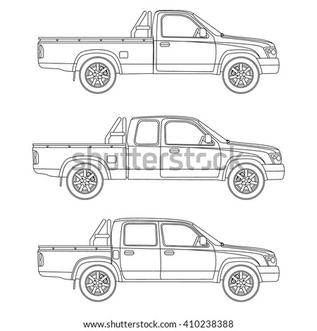 Pickup truck types set vector illustration stock vector hd royalty pickup truck types set vector illustration blueprint malvernweather Image collections
