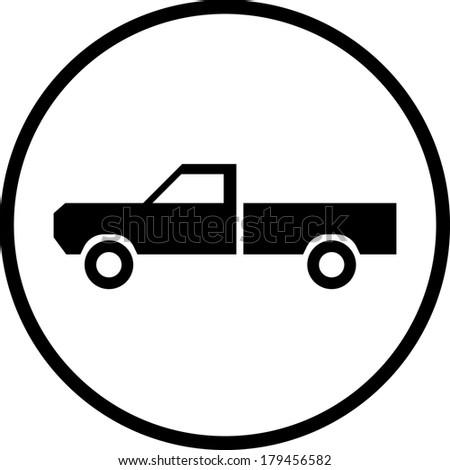 Pickup truck vector icon - stock vector