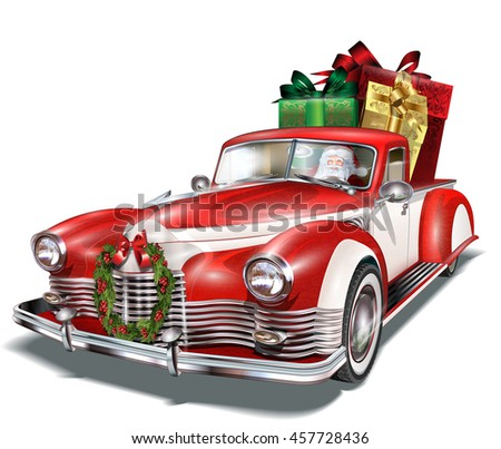 Pickup truck with gift box in the trunk. - stock vector