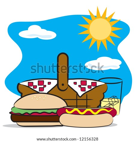 Picnic basket / cookout - stock vector
