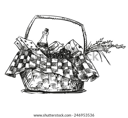 Picnic basket with snack. Hand drawn.   - stock vector