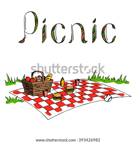 Picnic blanket stock vectors vector clip art shutterstock for Picnic blanket coloring page