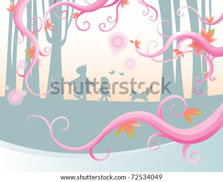 picnic in the forest - stock vector