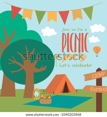 Picnic barbecue party invitation card vector stock photo photo picnic or barbecue party invitation card vector illustration stopboris Images