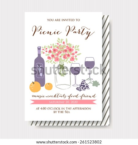 Picnic Party Invitation - stock vector