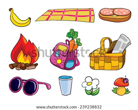 picnic, set of objects, vector illustration on a white background - stock vector