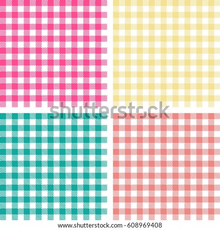 Wonderful Picnic Table Cloth. Color Square Plaid Pattern. Vichy Texture. Picnic Table  Cloth.