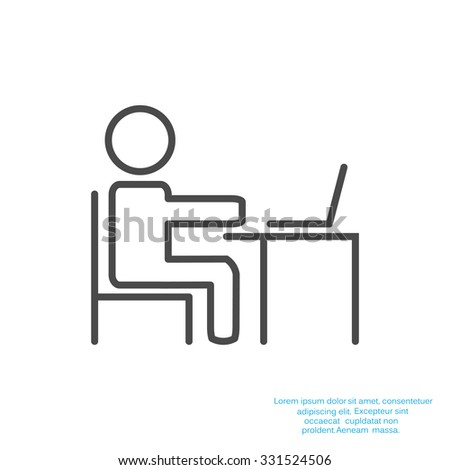 Pictogram Businessman Working on Computer. Vector illustration - stock vector