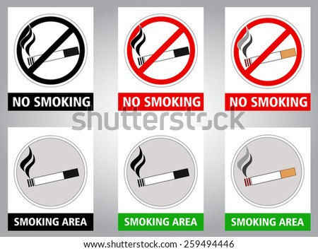 pictogram - No smoking and smoking area sign, black and white and color - stock vector