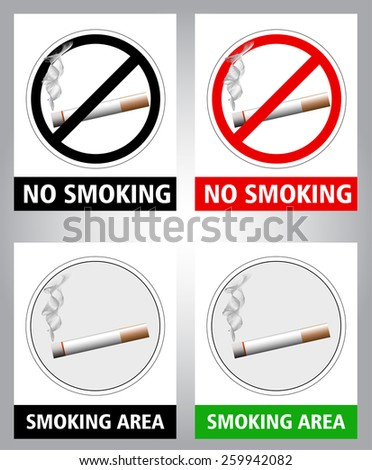 pictogram - No smoking and smoking area sign, black and white and color with more realistic elements - stock vector