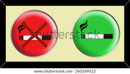 pictogram - No smoking and smoking area symbols in black and white on a green and a red convex surface - stock vector