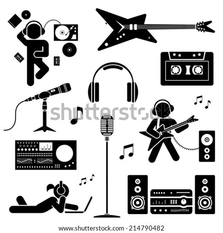 Pictogram of teenagers having fun. Vector set of flat icons. - stock vector