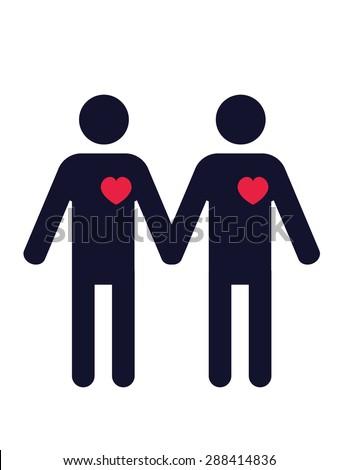 pictogram of two men in love holding hands - stock vector