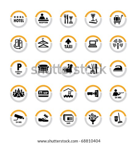Pictogram set for hospitality industry in semicircles with shadow - stock vector