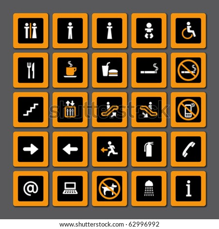 Pictogram set for indoor use in orange and white on black - stock vector
