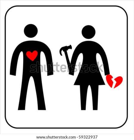 Pictogram with Woman and man with broken heart. Love icon, isolated on white, vector