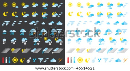 Pictograms which represent weather conditions - stock vector