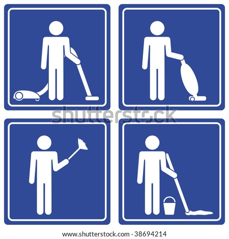 Pictograph - cleaning, male - stock vector