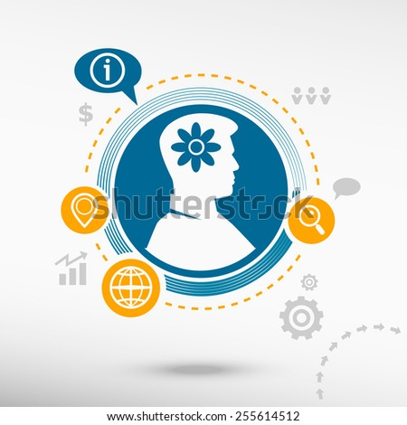 Pictograph of flower and male avatar profile picture. Flat design vector illustration concept for reaching goals.  - stock vector