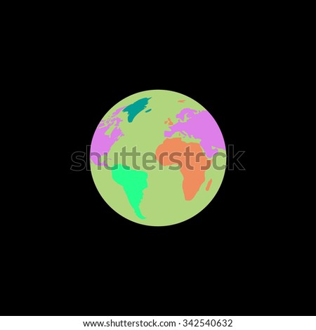 Pictograph of globe. Color vector icon on black background