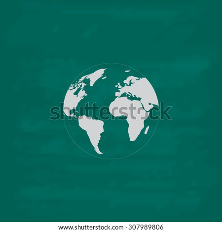 Pictograph of globe. Icon. Imitation draw with white chalk on green chalkboard. Flat Pictogram and School board background. Vector illustration symbol - stock vector