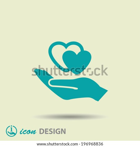 Pictograph of heart in hand - stock vector
