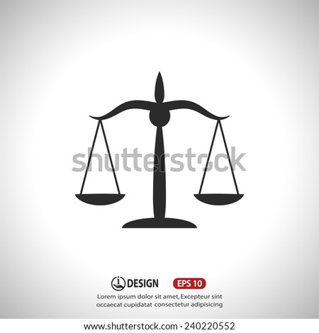 Pictograph of justice scales - stock vector