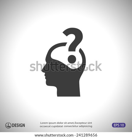 Pictograph of question mark and man