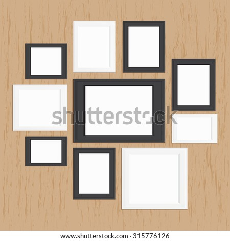 picture frame gallery on wood, modern frame design template set