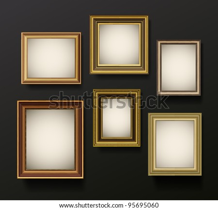Picture frame vector on wall. Vintage set - stock vector