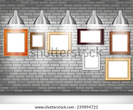 Picture frame vector. Photo art gallery on gray wall in the light - stock vector