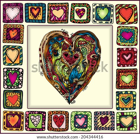 Picture Frame with original hand-drawn hearts in doodle frames, patchwork style, copy space for baby books, albums, scrapbooks. EPS10 organized in groups for easy editing. - stock vector
