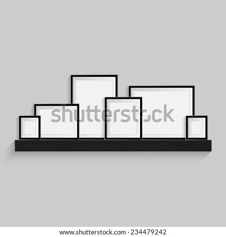 Picture frames are on the black bookshelf. Modern photo art gallery isolated on gray background  wall. Realistic luxury 3d object. Vector illustration object EPS10 - stock vector