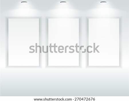 Picture frames exhibition room. Vector - stock vector