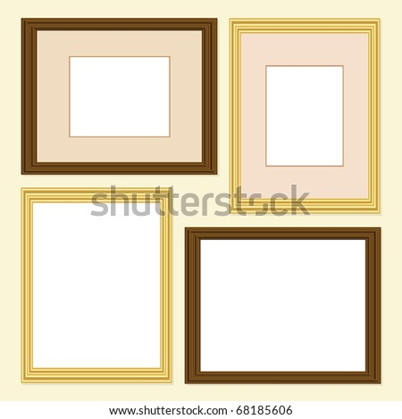Picture frames in gold and wood finish, with and without mounts. EPS10 vector format - stock vector