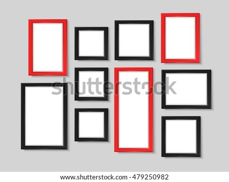 picture frames on wall simple. Picture Frames. Realistic Wall Photo Gallery Vector Illustration. Photoframes Mockup. Empty Simple Frames On