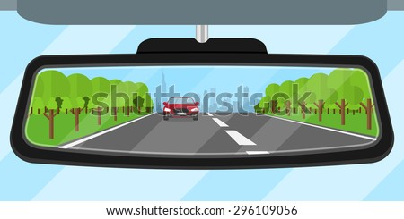 picture of a car rear view mirror reflected road, another car, trees and big city silhouette, flat style illustration - stock vector