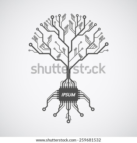 picture of a circuit board pattern in form of a tree with roots formed with chip - stock vector