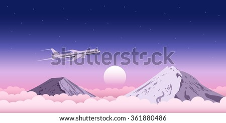 picture of a civilian plane flying above the clouds with mountains on background, web banner design for travel, transportation, plane tickets advertisement concept - stock vector